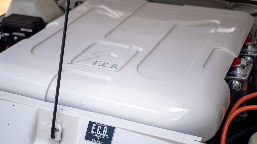 The Tesla Direct Drive EV power train inside E.C.D. Automotive Design's electric Range Rover Classic.