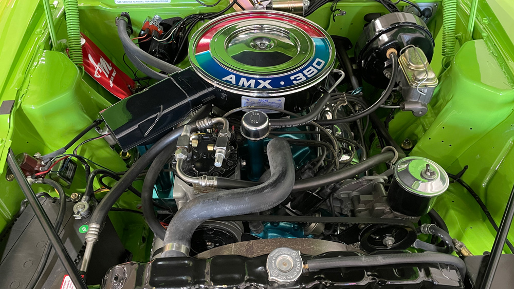 The 315 hp engine inside one of AMC's 1969 AMX California 500 Specials.
