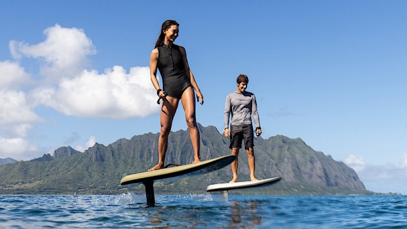The Fliteboard electric foiling surfboard offers two hours of fun on the water.