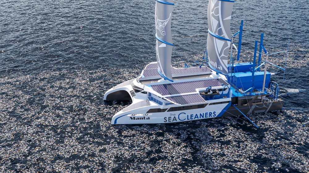 Manta is a 185-foot sailing cat that collects garbage around the world