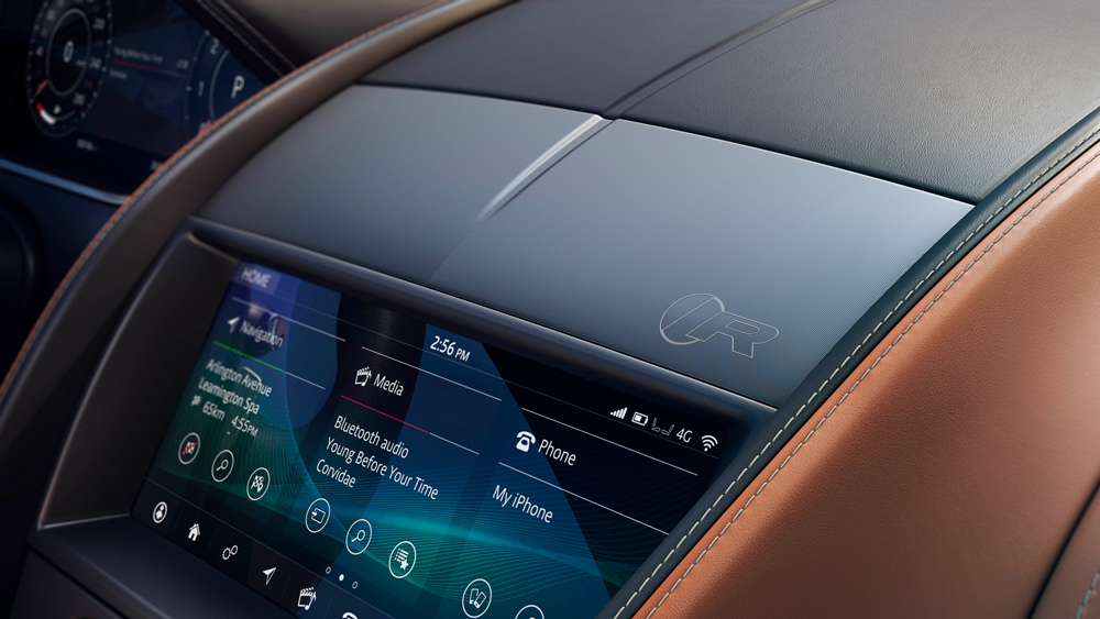 The touchscreen display inside the 2021 Jaguar F-Type R Coupe.