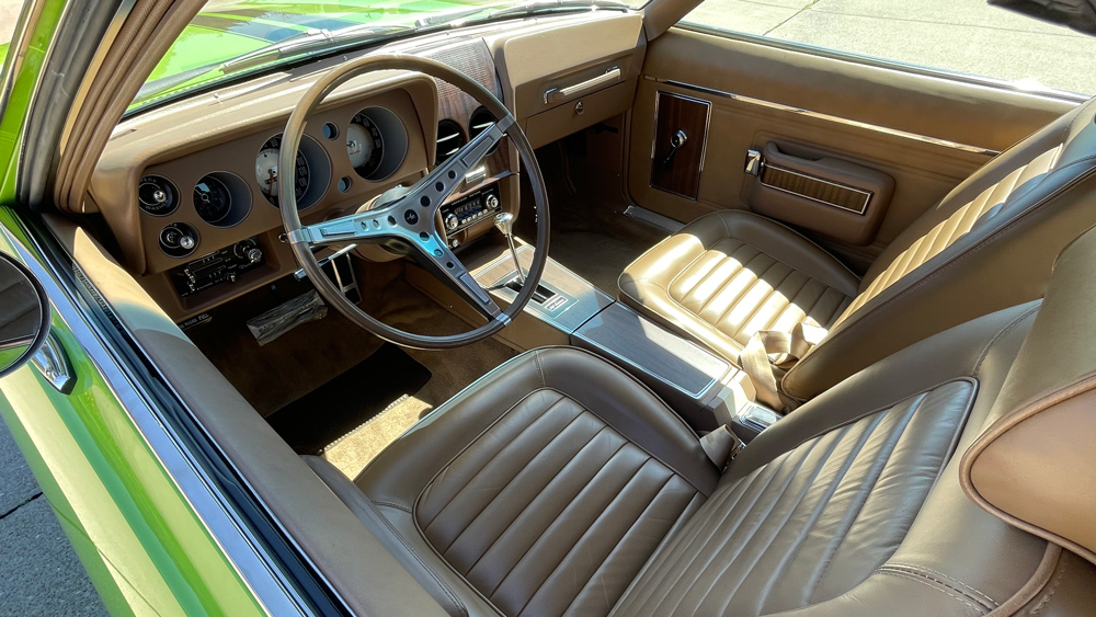 The interior of an AMC 1969 AMX California 500 Special.