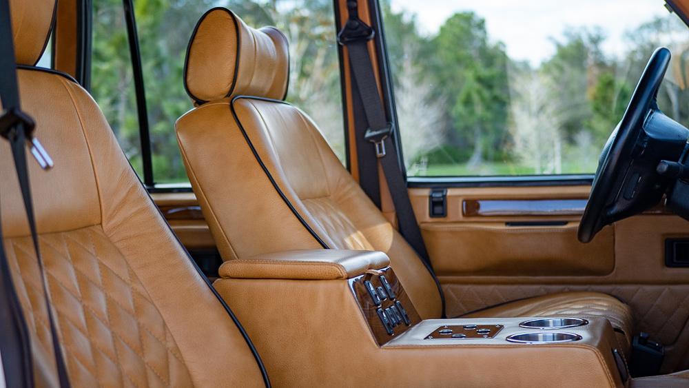 The interior of E.C.D. Automotive Design's all-electric Range Rover Classic.