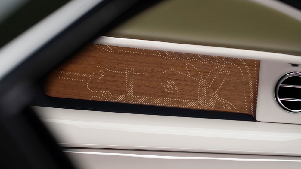 An interior detail inside the Rolls-Royce Phantom Oribe.