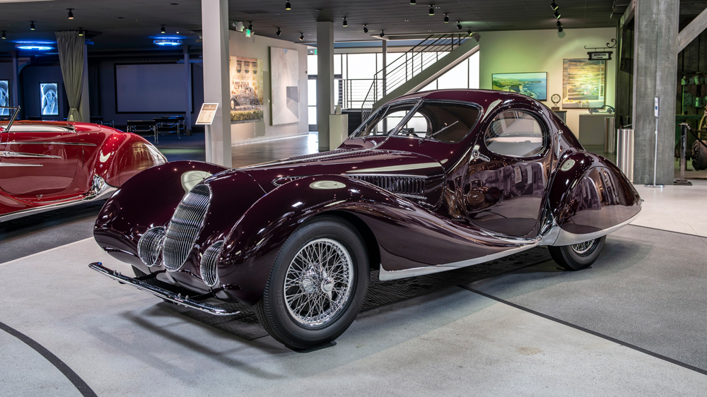 A pristine 1937 Talbot-Lago T150-C SS Goutte d'Eau on display at the Mullin Automotive Museum in Oxnard, Calif.