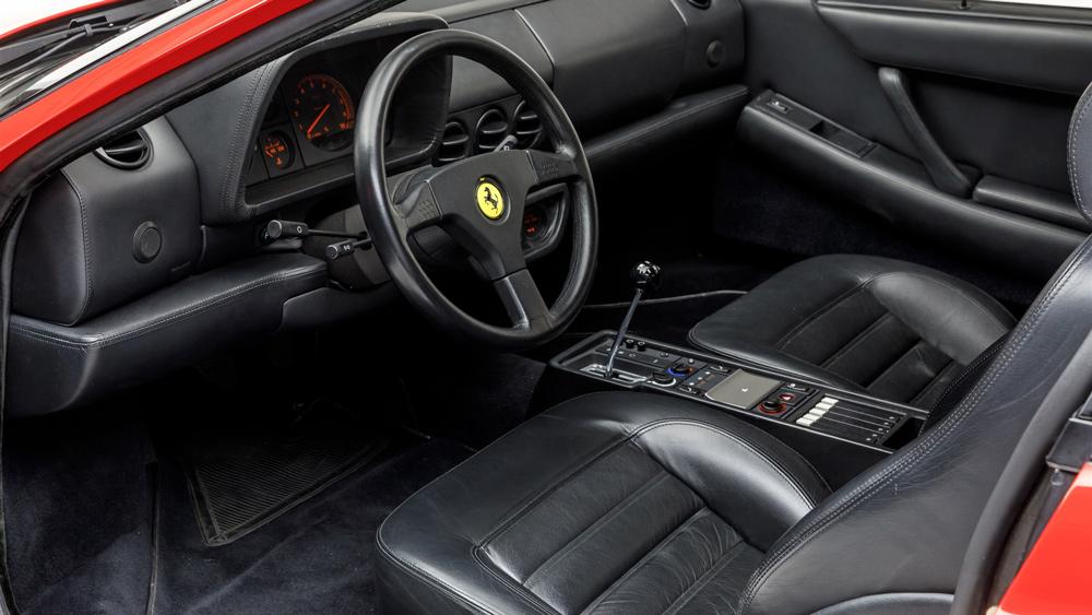 The interior of a 1993 Ferrari 512 TR.