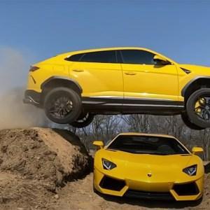 Lamborghini Urus Jumps Aventador