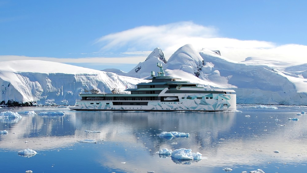 The 345-foot Damen SeaXplorer 105 is designed to travel the world in style.