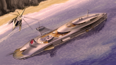 Cobra is a 412-foot superyacht concept powered by recycled jumbo jet engines
