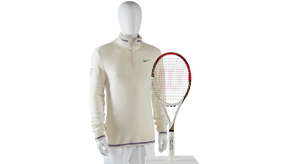The RF cardigan and racket from his victory over Andy Murray in 2012