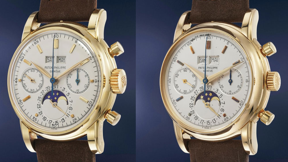 Patek Philippe Ref. 2499 from 1964 (left) and 1985 (right)