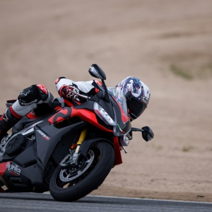 Test-riding the 2021 Aprilia RSV4 Factory motorcycle at WeatherTech Raceway Laguna Seca.