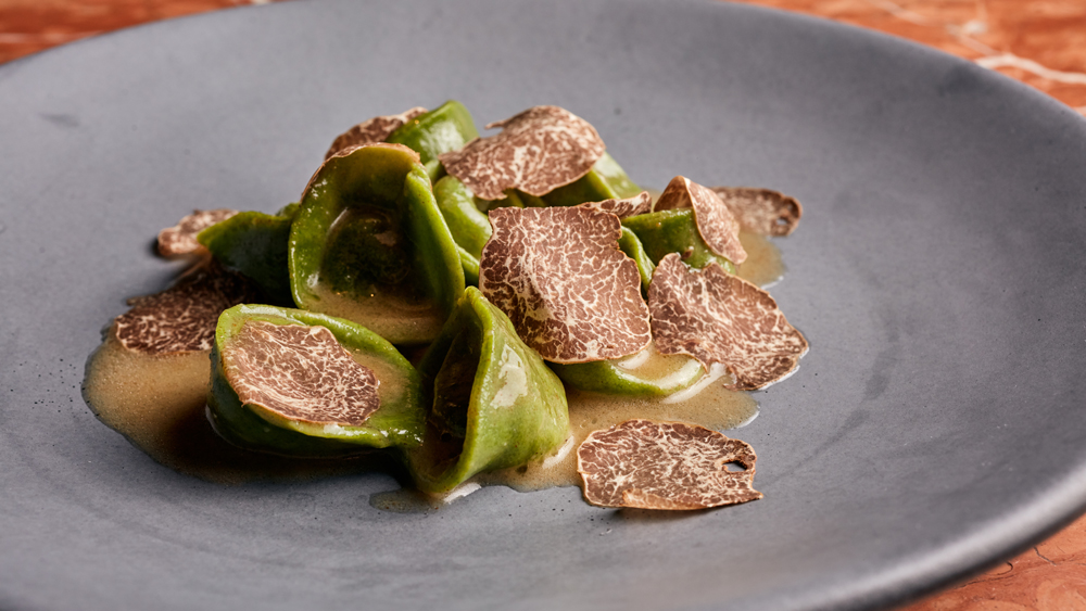 spinach cappelletti with truffle