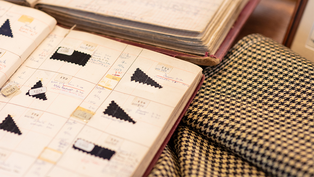 Archival fabric swatches from Dugdale.