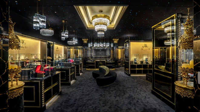 The opulent interior of Amaffi's New York flagship.