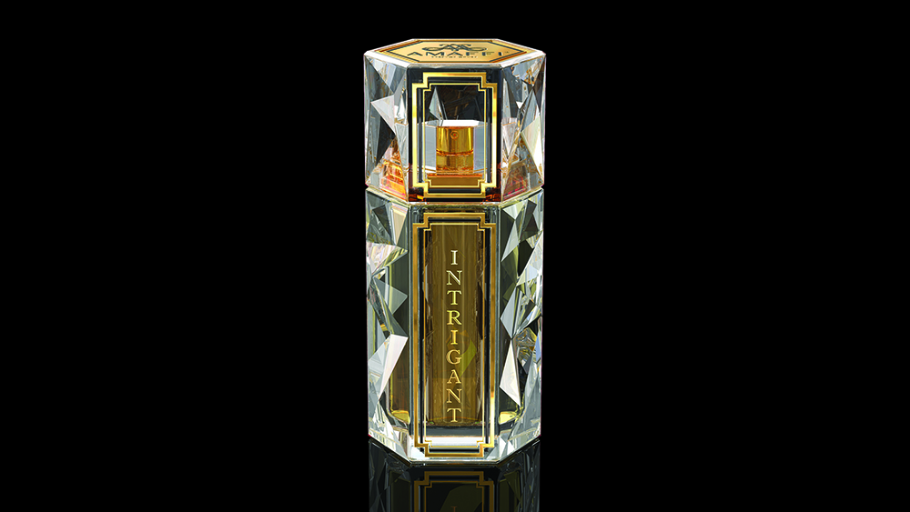 The glass bottle of Intrigant ($4,300) recalls cut-crystal tumblers.