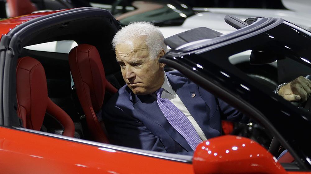 Then-Vice President Joe Biden in a Chevy Corvette in 2014