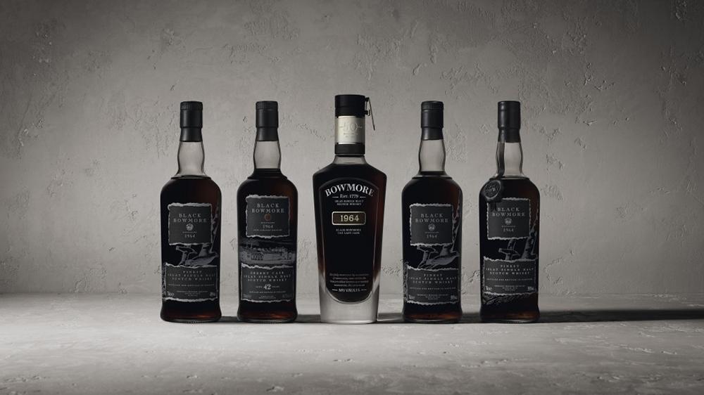 Complete set of 1964 Black Bowmore single-malt whiskey
