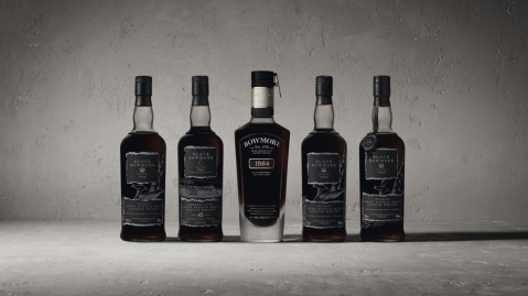 Complete set of 1964 Black Bowmore single-malt whiskey