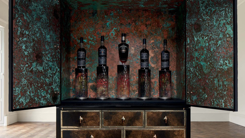 The complete set of 1964 Black Bowmore single-malt whisky in its bespoke case