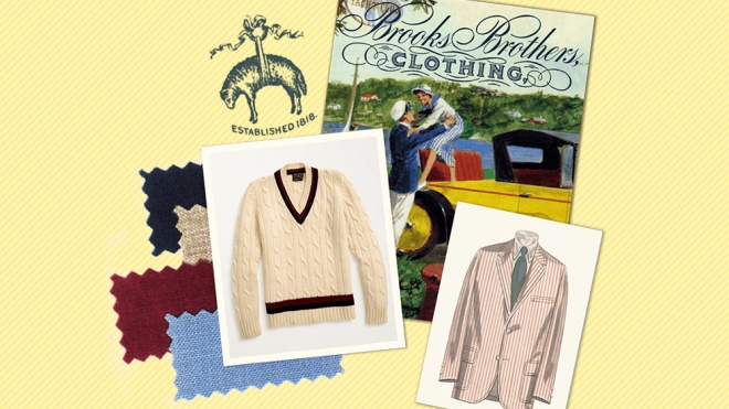 A collage with vintage Brooks Brothers advertisements, swatches and a cricket sweater that's offered in the brand's new vintage shop.