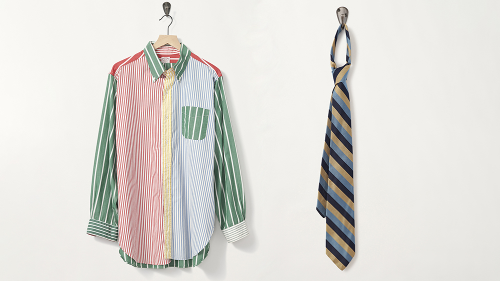 Vintage models of two Brooks Brothers classics: the Fun Shirt and the silk rep tie.