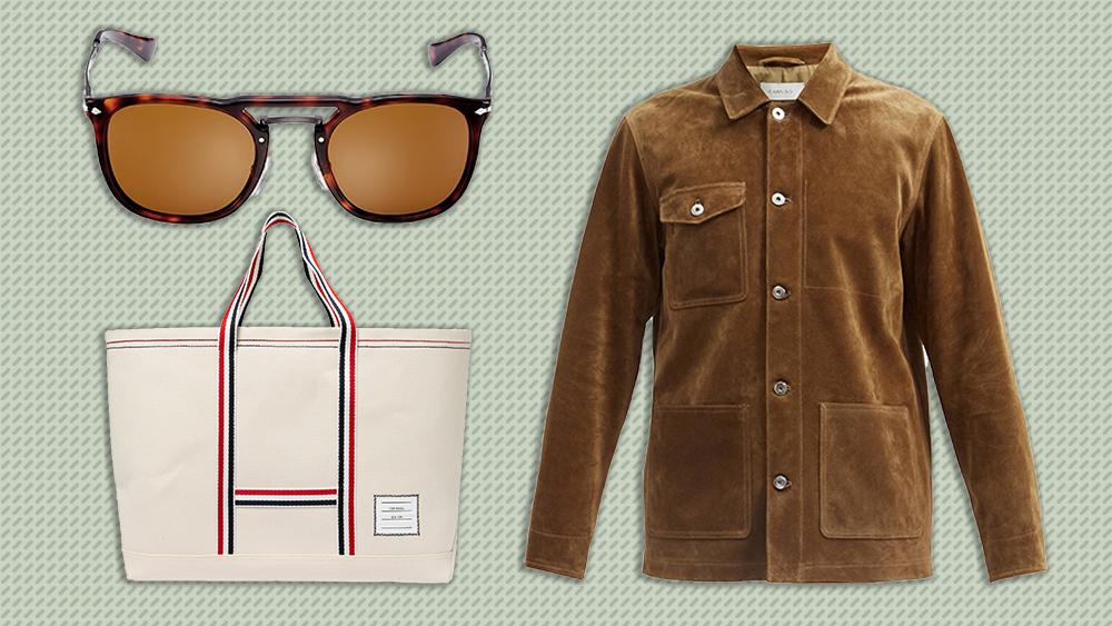 Persol sunglasses, Caruso jacket, Thom Browne tote