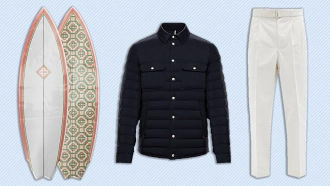 Casablanca surfboard, Moncler jacket, Officine Générale trousers