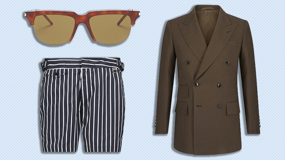 Saint Laurent sunglasses, Edward Sexton jacket, Ralph Lauren swim trunks