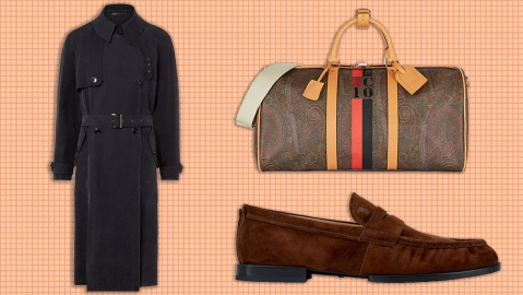 Armani trench coat, Etro duffel, Tod's loafer.