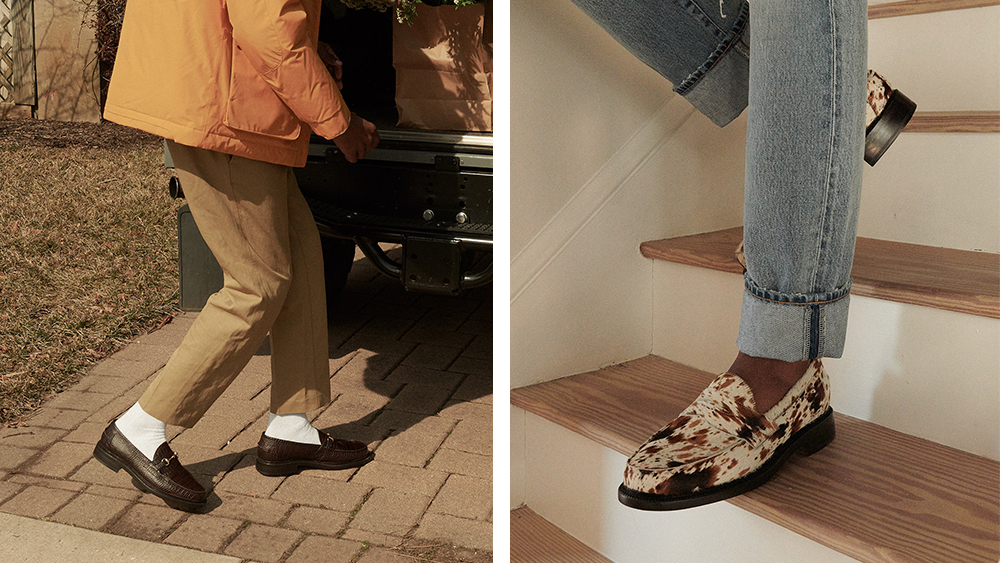 Two pairs from Blackstock & Webers range: understated in pebbled leather ($325) or freestyling in cow-print pony-hair.