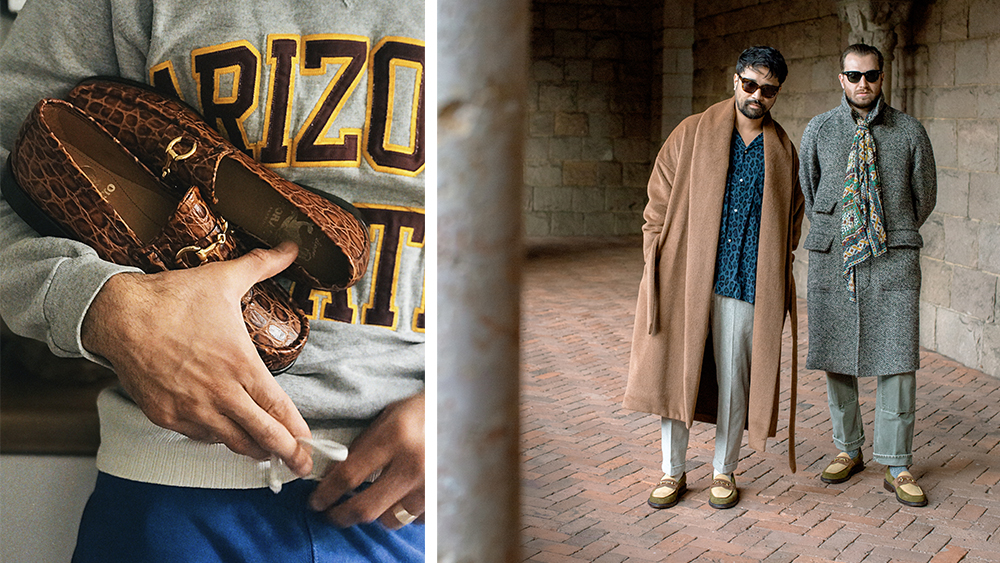 """Horatio London's bold croc-embossed """"Beaufoy"""" loafers ($310); the hosts of Throwing Fits modeling their collaboration with Blackstock & Weber."""