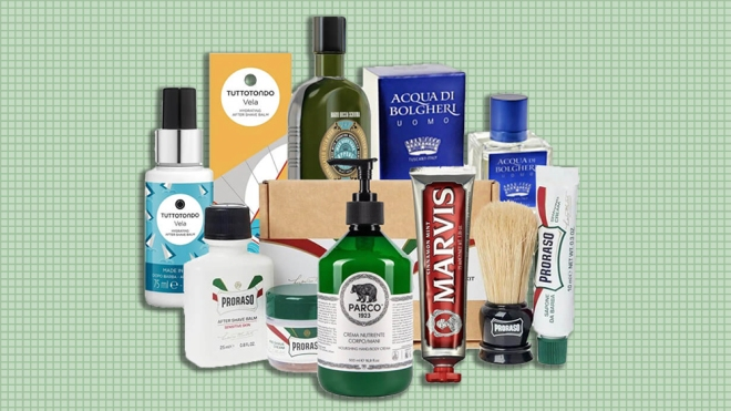 """Mozzafiato's """"Italian Gentleman"""" includes all of the shop's most popular grooming products."""