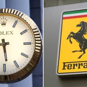 The Rolex and Ferrari logos