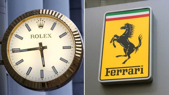The Rolex and Ferrari logos