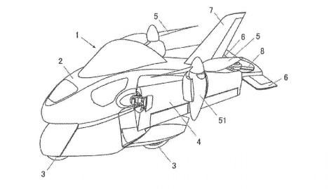 A schematic sketch of Subaru's flying motorcycle