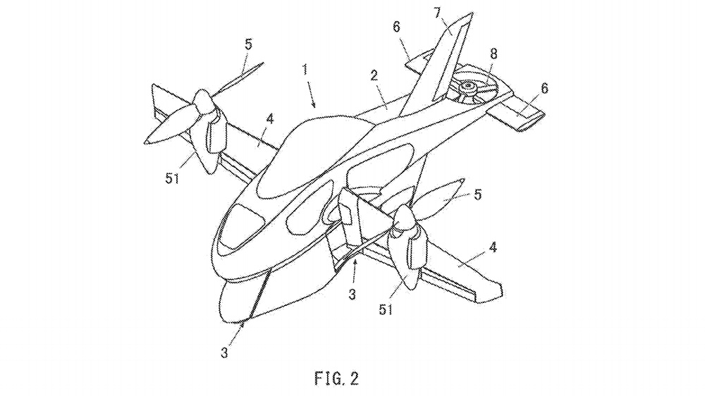 A schematic sketch of Subaru's flying motorcycle