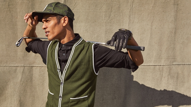A model wears pieces from the Todd Snyder x FootJoy collection.