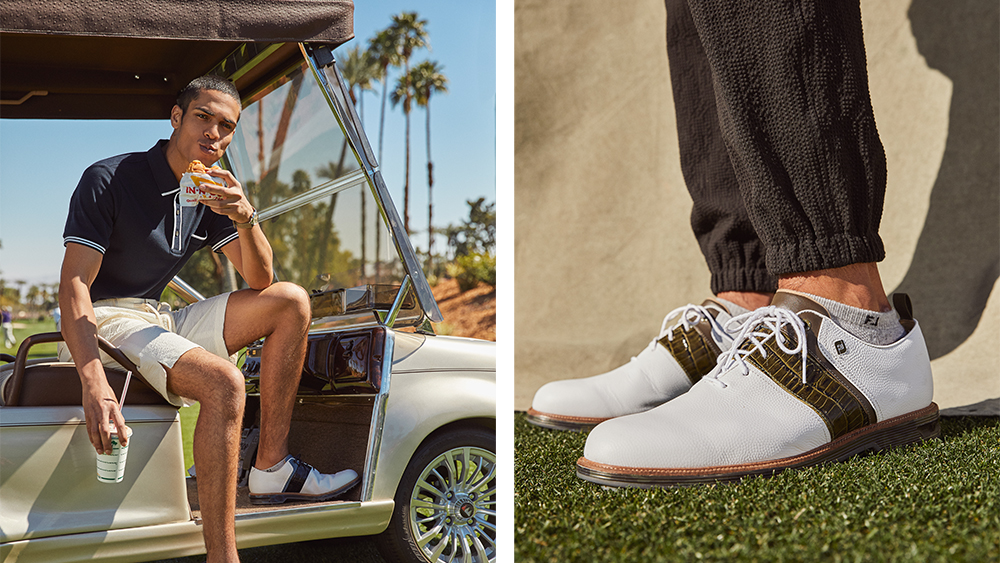 Models wearing looks from the Todd Snyder x Footjoy collection.