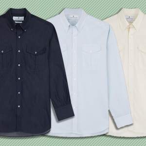 Three variations of Turnbull & Asser's officer shirt.