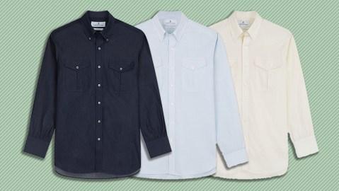 Three variations of Turnbull & Asser's officer shirt.
