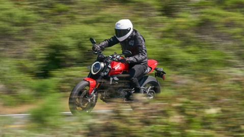 Riding the 2021 Ducati Monster motorcycle.