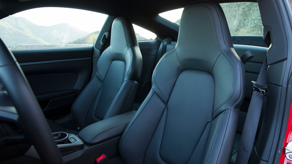 A look inside a 2021 Porsche 911 Carrera S with a manual gearbox.