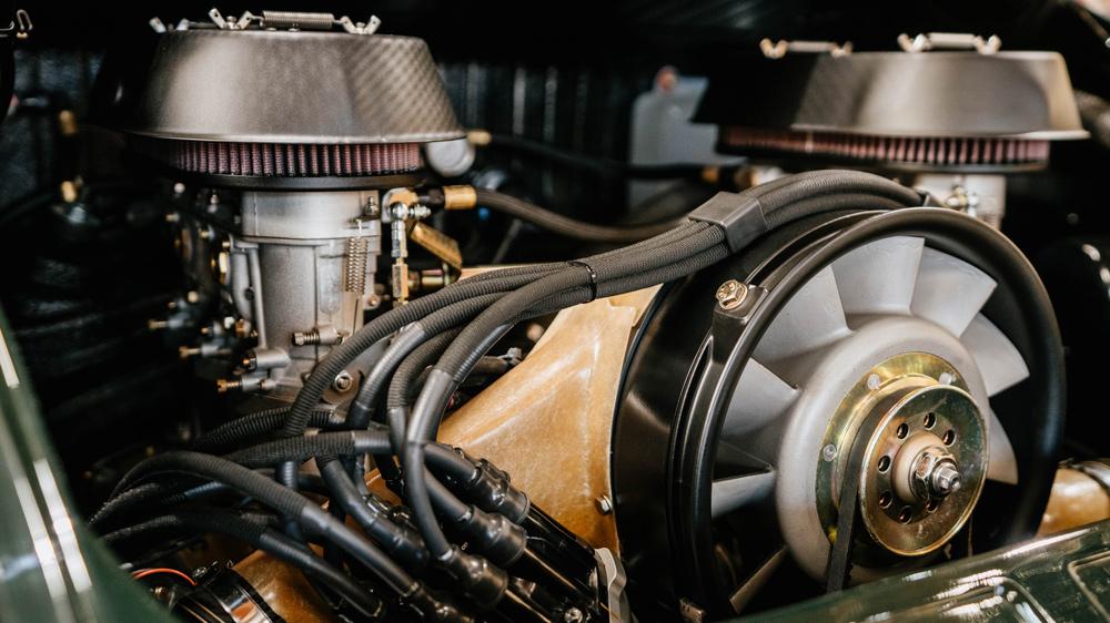 The engine in a 1968 Porsche restomod from Workshop 5001.