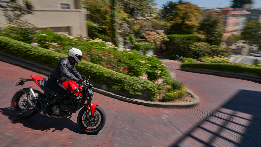 Riding the 2021 Ducati Monster motorcycle in San Francisco.