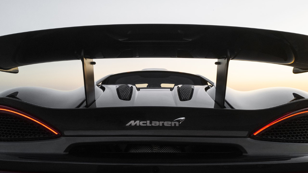 The rear view of the McLaren 620R.