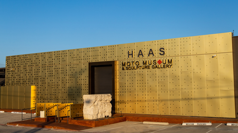 The Haas Moto Museum & Sculpture Gallery's artistic entrance.