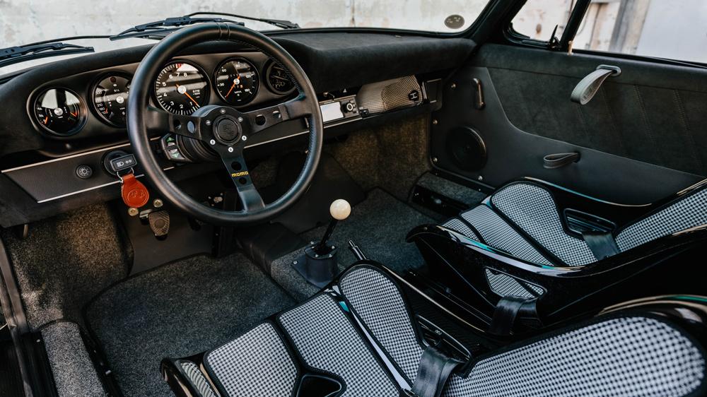 The interior of a 1968 Porsche restomod from Workshop 5001.