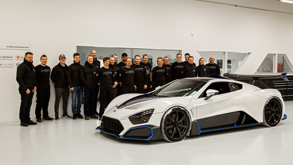 Zenvo Automotive team members standing behind their product.