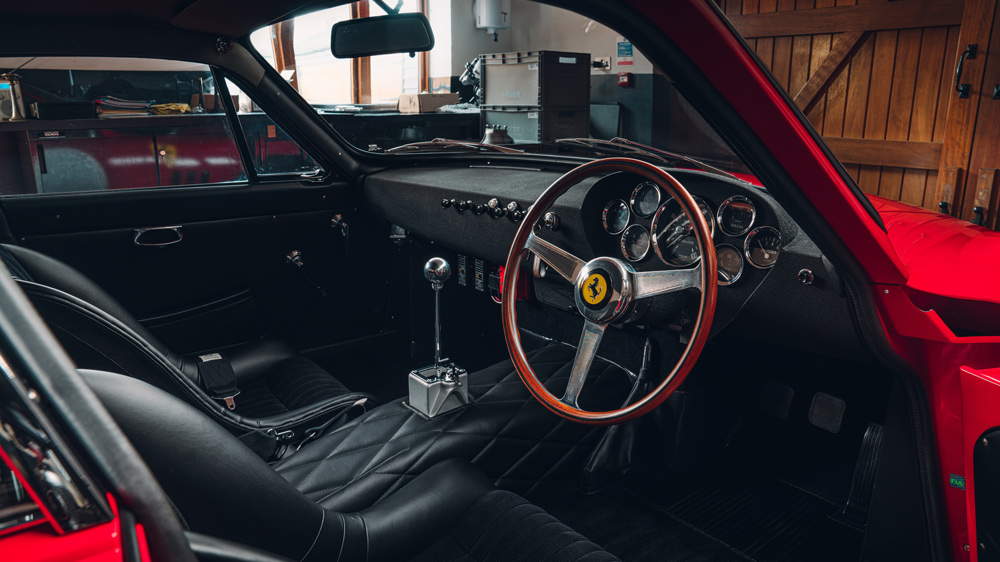 The interior of a Ferrari 330 LMB recreation from Bell Sport & Classic.